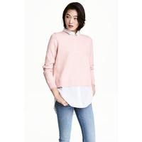 H&M Sweter z kołnierzykiem 0490243003 Jasnoróżowy/Biały