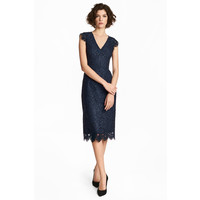 H&M Koronkowa sukienka 0483751001 Ciemnoniebieski