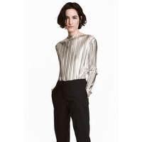 H&M Plisowany top 0517508001 Srebrny