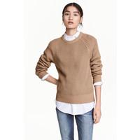 H&M Sweter w patentowy splot 0460379005 Beżowy
