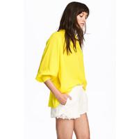 H&M Bluzka z dekoltem w serek 0500827002 Żółty