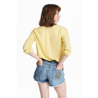 H&M Bawełniana koszula 0463285030 Żółty