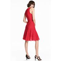 H&M Koronkowa sukienka 0483675002 Czerwony