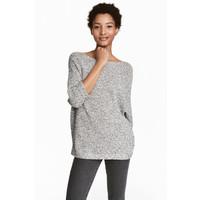 H&M Sweter robiony lewym ściegiem 0244267016 Szary