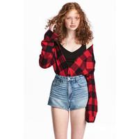H&M Flanelowa koszula 0500348003 Czerwony/Krata