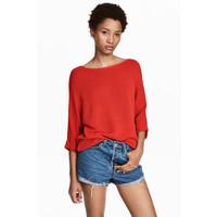 H&M Sweter robiony lewym ściegiem 0244267004 Czerwony