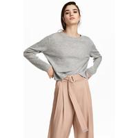 H&M Sweter o splocie w prążki 0539242002 Jasnoszary