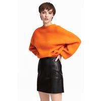 H&M Sweter o splocie w prążki 0521302004 Pomarańczowy