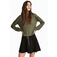 H&M Sweter ze sznurkiem 0542124001 Zieleń khaki