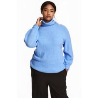 H&M H&M+ Sweter z golfem 0393750004 Niebieski melanż