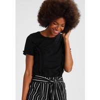 Dorothy Perkins RUFFLE TRIM TEE T-shirt z nadrukiem black DP521D0FI