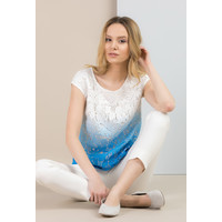 Monnari Koronkowa, cieniowana bluzka BLUIMP0-18L-BLU1110-KM12D601-R36