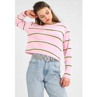 Topshop COLOUR STRIPE LONG SLEEVE CREW Bluzka z długim rękawem pink TP721D0KB