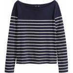 H&M Sweter w łódeczkę 0196224007 Ciemnoniebieski/Paski