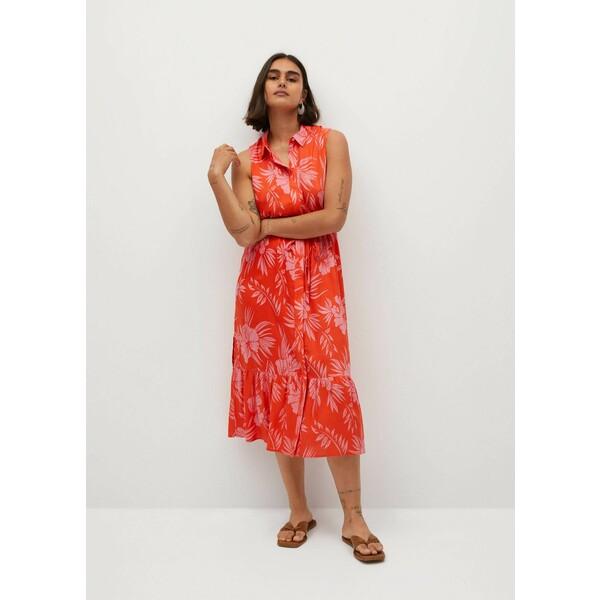 Mango Sukienka hawai Koralowy 77010560-HAWAI-LV