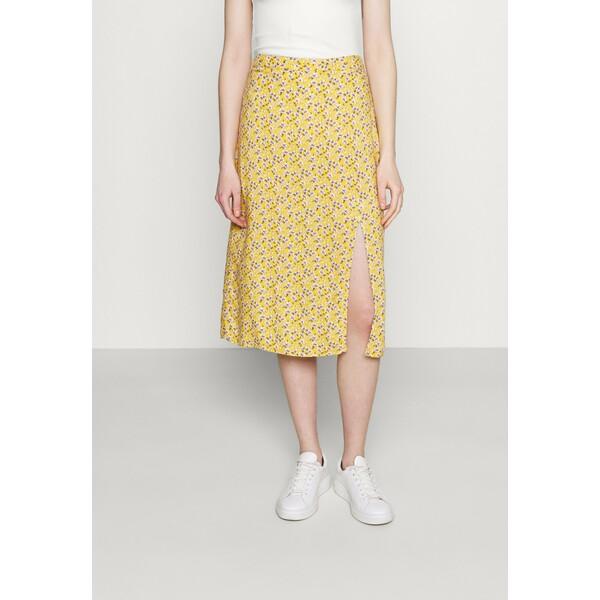 Hollister Co. SLIP SKIRT Spódnica trapezowa yellow floral H0421B01Y