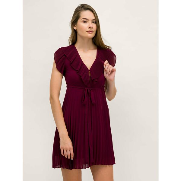 TwinSet Sukienka koktajlowa Georgette 192TT2071 Bordowy Regular Fit