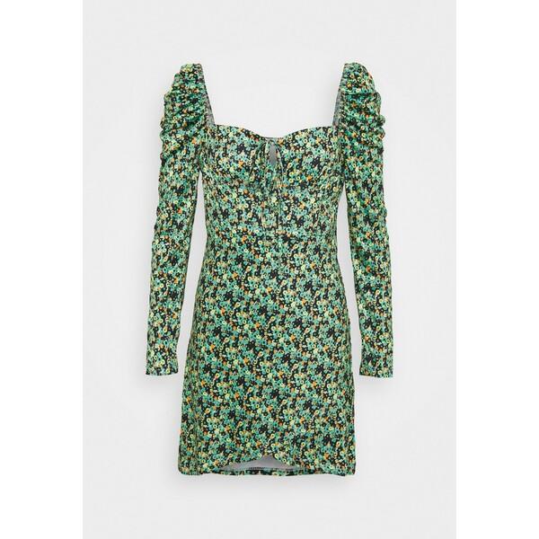 Glamorous WRAP MINI DRESS WITH LONG SLEEVES AND SQUARE NECKLINE Sukienka letnia green GL921C0OJ