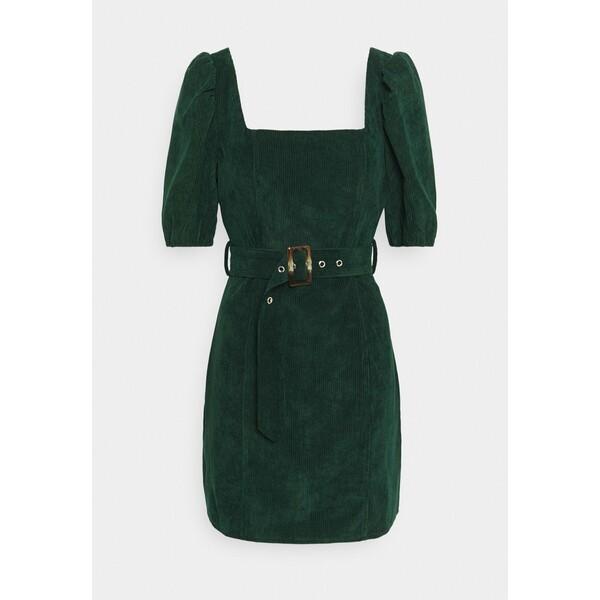 Missguided MILKMAID PUFF BELT SKATER DRESS Sukienka etui dark green M0Q21C1R3