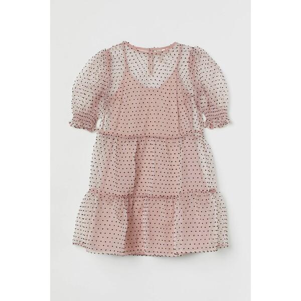 H&M Sukienka z bufiastym rękawem 0901588002 Jasnoróżowy/Kropki