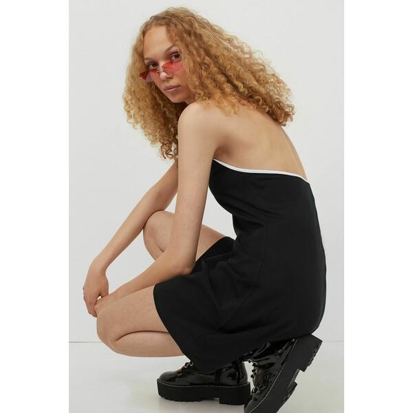 H&M Sukienka z mocowaniem na karku 0966557004 Czarny/Biały