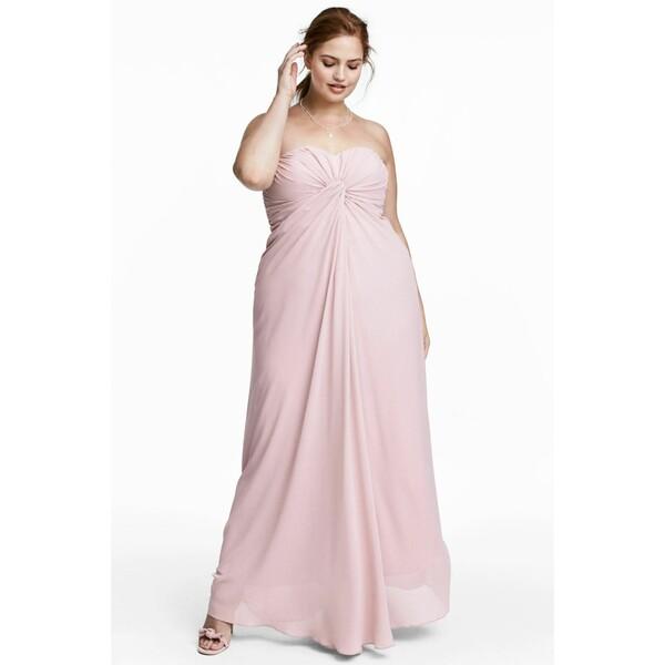 H&M H&M+ Długa sukienka bandeau 0561729001 Pudroworóżowy
