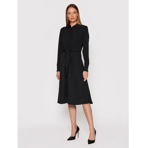 Lauren Ralph Lauren Sukienka koszulowa Triple Georgette 200808050005 Czarny Regular Fit