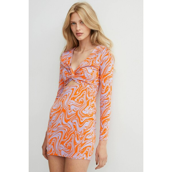 H&M Sukienka z wycięciami 1042109001 Pomarańczowy/Jasnofioletowy