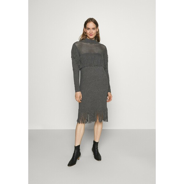 Pinko SAGRANTINO ABITO RASATO RETE E FRANGE Sukienka dzianinowa grey P6921C0AL