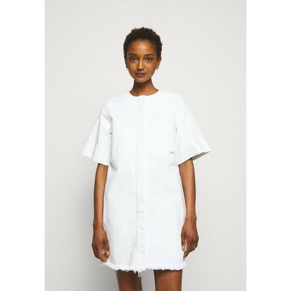 Victoria Victoria Beckham FRAYED HEM MINI DRESS Sukienka jeansowa white VIT21C01J