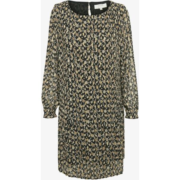 Cream FLOCR Sukienka letnia black print w gold foil CR221C0I7