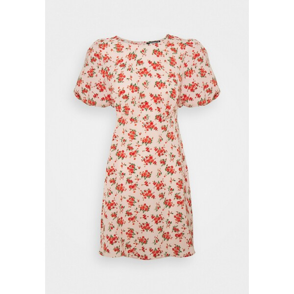 Missguided FLORAL PUFF SLEEVE SKATER DRESS Sukienka letnia pink M0Q21C1YD