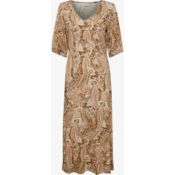 Cream CRLULLA Długa sukienka rose brown paisley CR221C0L7