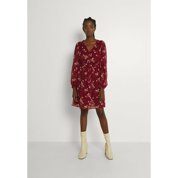 Vero Moda VMFRAYA V NECK BALLOON DRESS Sukienka koszulowa cabernet VE121C33J