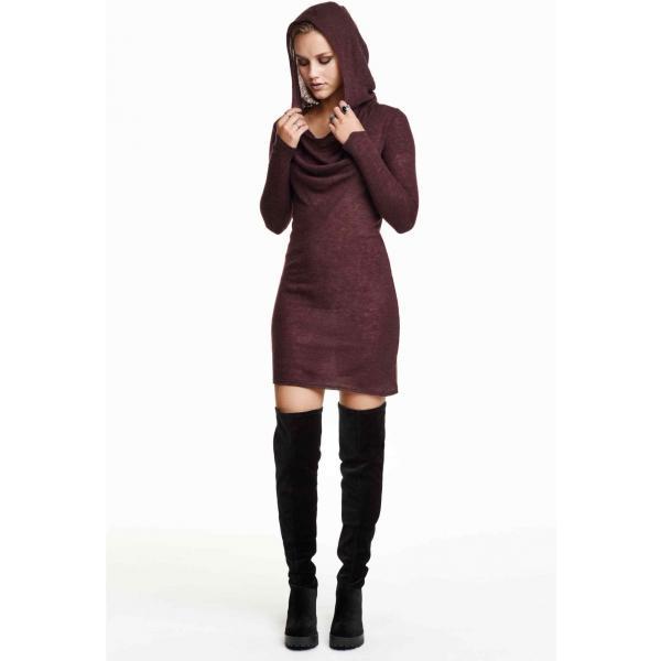 H&M Dzianinowa sukienka 0192460005 Bakłażan