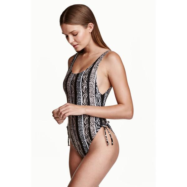 H&M Kostium kąpielowy High leg 0416619003 Czarny/Beżowy wzór
