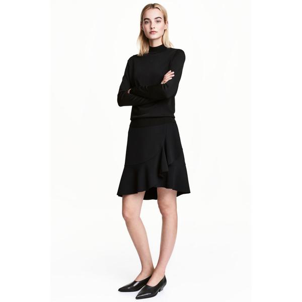 H&M Spódnica z falbaną 0501396001 Czarny