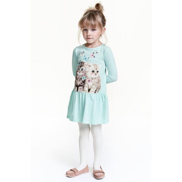 H&M Dżersejowa sukienka 0434046002 Miętowozielony/Kot