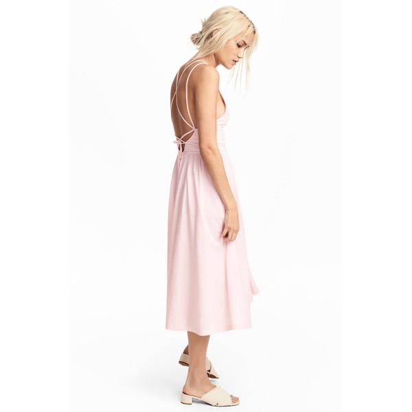 H&M Sukienka z dekoltem w serek 0543777004 Jasnoróżowy