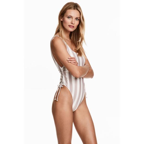 H&M Kostium kąpielowy High leg 0416619003 Brązowszary/Białe paski