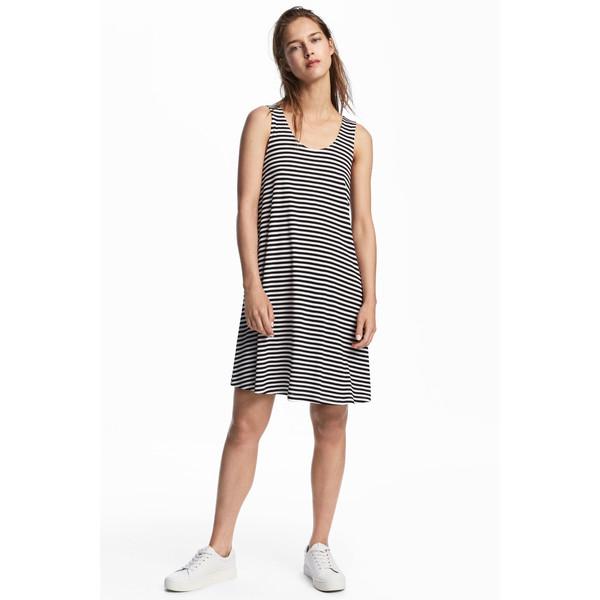 H&M Trapezowa sukienka z dżerseju 0538280005 Biały/Paski