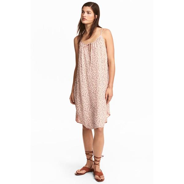 H&M Sukienka na ramiączkach 0505094003 Pudroworóżowy/Kwiaty