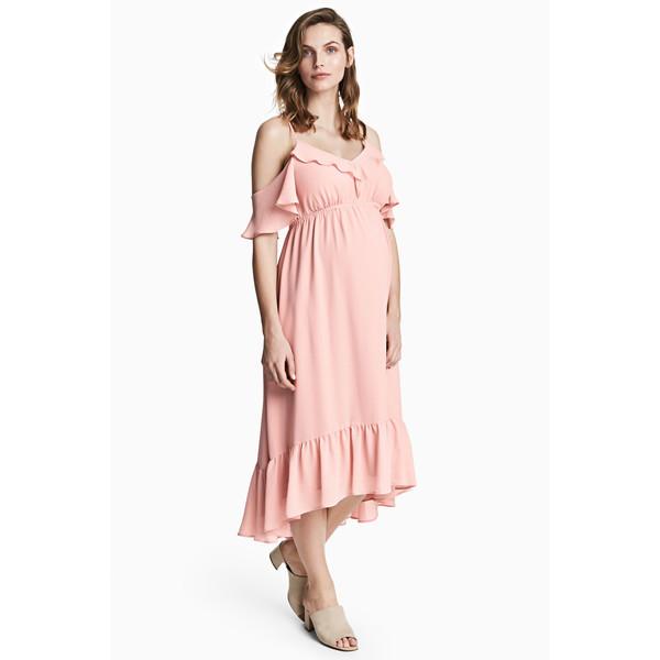 H&M MAMA Szyfonowa sukienka 0442985001 Pudroworóżowy