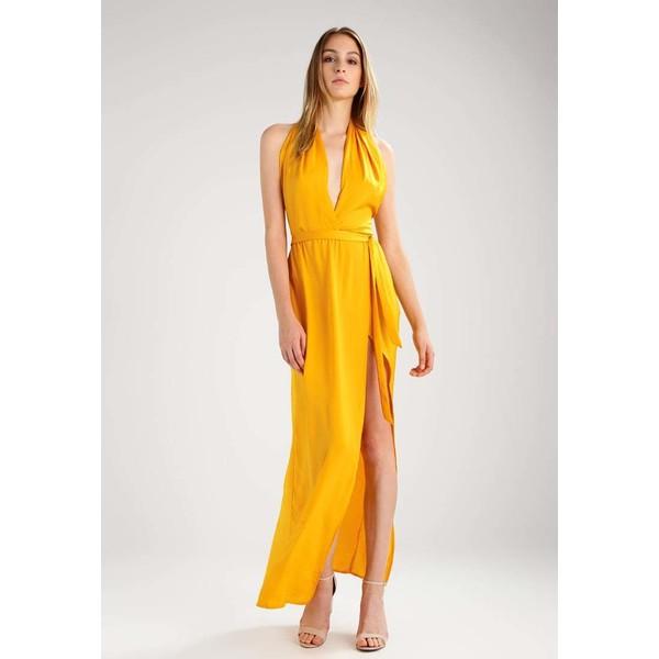 Missguided TWIST NECK Długa sukienka yellow M0Q21C0JD