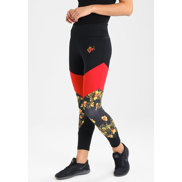 Nike Sportswear FLORAL Legginsy black/university red NI121A05S