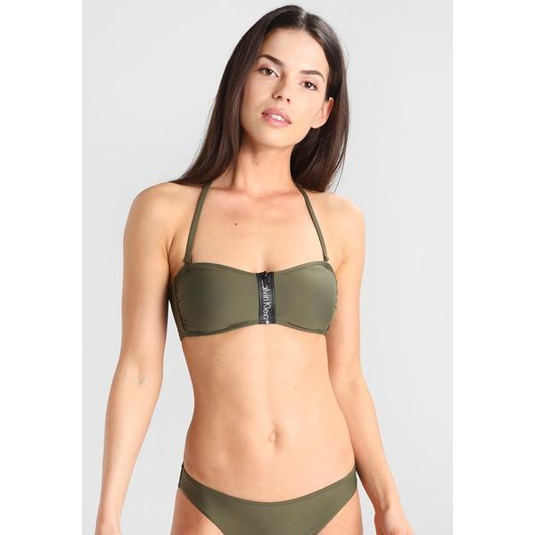 Calvin Klein Swimwear ZIP BANDEAU Góra od bikini green C1781J005