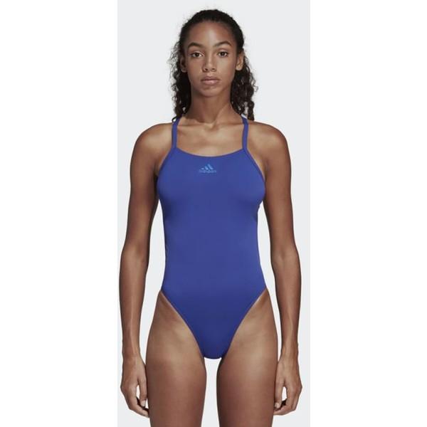 adidas Performance STRIPES SWIMSUIT Kostium kąpielowy blue AD541K02I