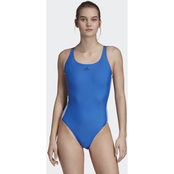 adidas Performance ATHLY V 3-STRIPES SWIMSUIT Kostium kąpielowy blue AD581G02W